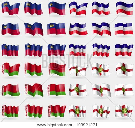 Liechtenstein, Los Altos, Belarus, Alderney. Set Of 36 Flags Of The Countries Of The World.