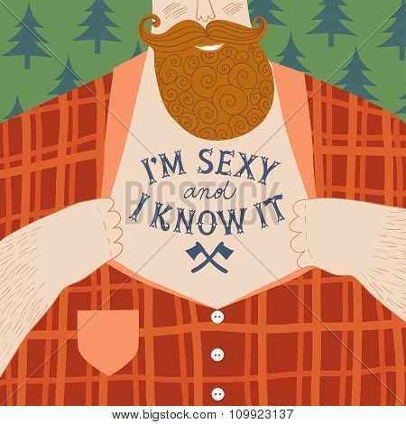 Mighty Lumbersexual Men's Chest With Tattoos