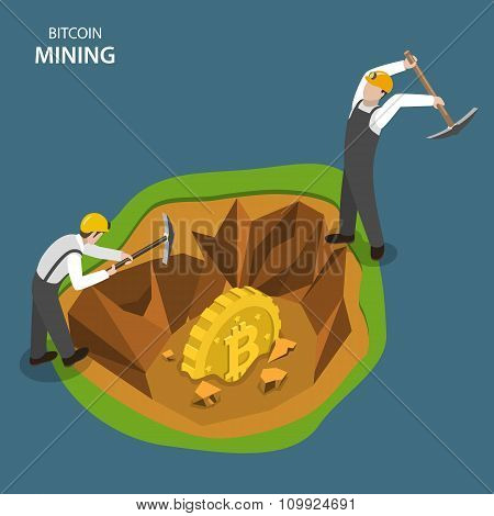 Bitcoin mining isometric flat vector concept