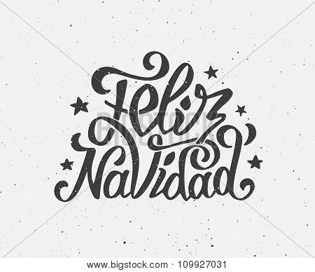 Vintage Feliz Navidad typographic vector poster
