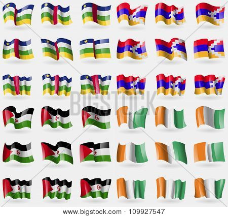 Central African Republic, Karabakh Republic, Western Sahara, Cote Divoire. Set Of 36 Flags Of The