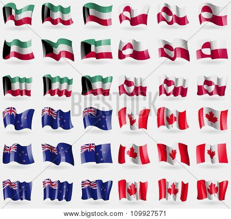 Kuwait, Greenland, New Zeland, Canada. Set Of 36 Flags Of The Countries Of The World.