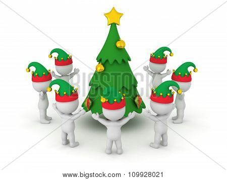 3D Characters Wearing Elf Hats Standing Around A Decorated Cartoonish Christmas Tree