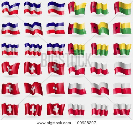 Los Altos, Guineabissau, Switzerland, Poland. Set Of 36 Flags Of The Countries Of The World.
