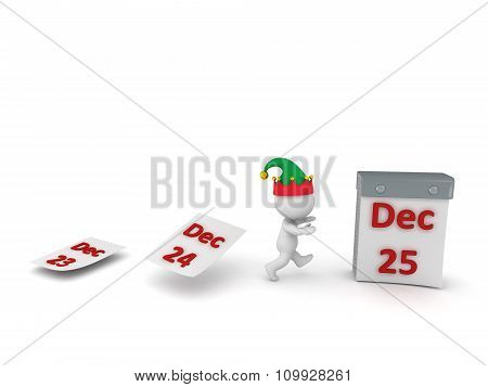 3D Character With Elf Hat Running Toward Calendar With December 25