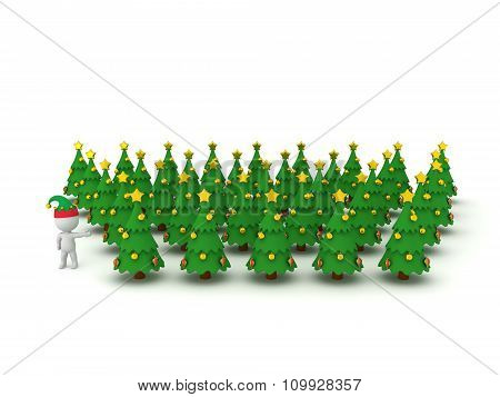 3D Character With Elf Hat Showing Many Christmas Trees