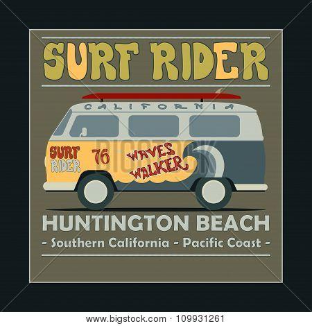 Surfing t-shirt graphic design. Vintage Retro Surf BUS