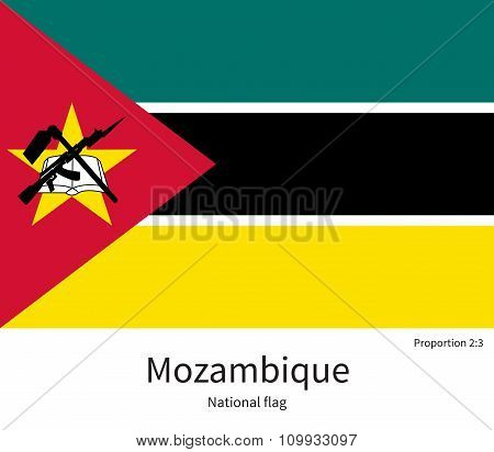 National flag of Mozambique with correct proportions, element, colors