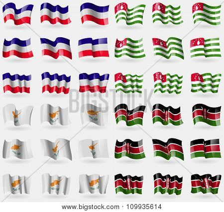 Los Altos, Abkhazia, Cyprus, Kenya. Set Of 36 Flags Of The Countries Of