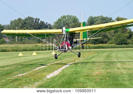 Aerotow Plane Landing On Airstrip