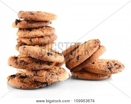 Cookies with chocolate crumbs isolated on white background