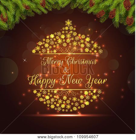 Merry christmas and happy new year background banner and christmas tree