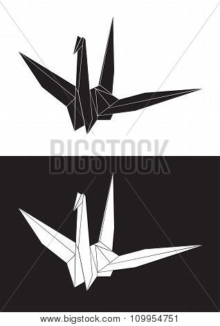 Vector origami crane and heart between, bird paper- Stock Illustration