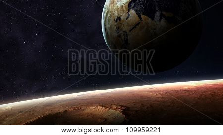 Universe scene with planets, stars and galaxies in outer space showing the beauty of space explorati