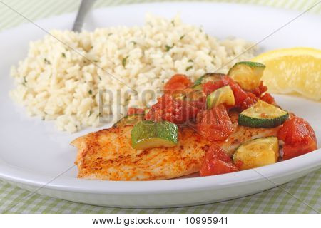 Fish fillet meal topped with tomato and zucchini with rice and a lemon slice poster