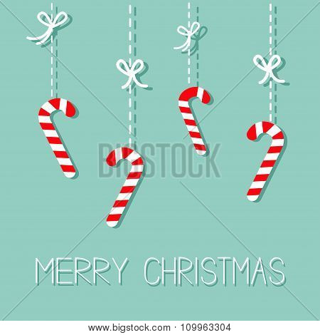 Merry Christmas Hanging Candy Cane. Dash Line With Bow. Flat Design. Blue Background.