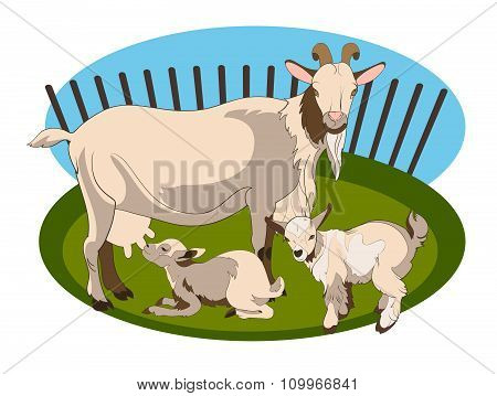 Goat and her cubs