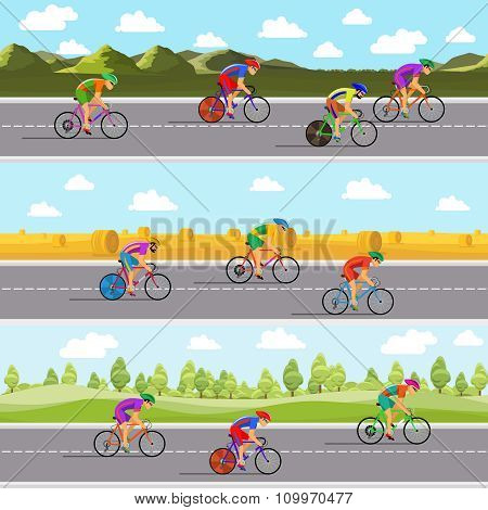 Racing bicyclists on bikes. Seamless panoramic backgrounds set