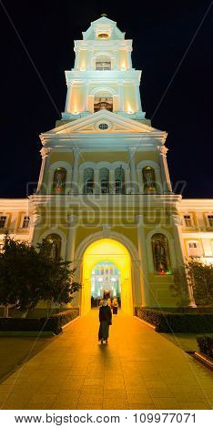 Bell Tower In The Evening Illumination, Diveevo, Russia