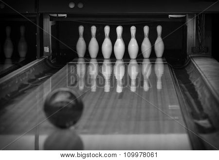 Bowling pins in the bowling club. Black and white.