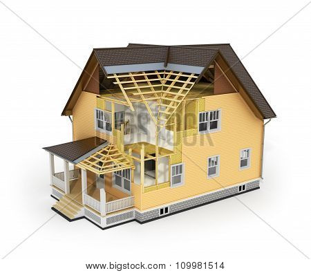 3D Render Of House In Construction Process. We See Constituents Of Roof Frame And Insulation Layer.
