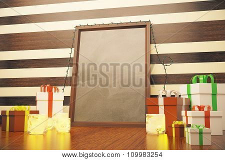 Blank Picture Frame With Gift Boxes And Candlesticks At Striped Background