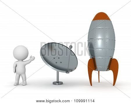 3D Character Showing Parabolic Antenna Dish And Rocket