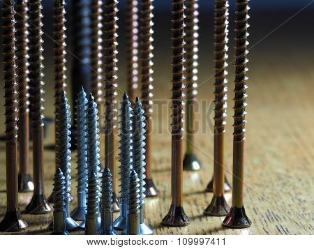 Screws on a table