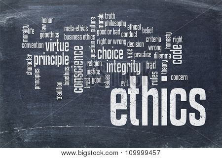 cloud of words or tags related to ethics and moral dilemma - white chalk text on  a slate blackboard blackboard