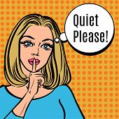 Girl says Quiet Please! Vector retro woman with silence sign pop art comics style illustration. Girl asking for silence putting her forefinger to her lips for quiet silence poster