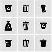 Vector black trash can icon set. Trash Can Icon Object, Trash Can Icon Picture, Trash Can Icon Image - stock vector poster