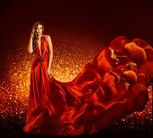 Fashion Woman in Red Dress Beauty Model Gown Flying Silk Fabric Elegant Girl with Flowing Cloth poster
