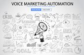 Voice Marketing concept with Doodle design style :finding ideas,social media advertising, creative slogans. Modern style illustration for web banners, brochure and flyers. poster