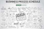 Business Process Schedule with Doodle design style :finding solution, brainstorming, creative thinking. Modern style illustration for web banners, brochure and flyers. poster