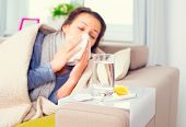 Sick Woman .Flu. Woman Caught Cold. Sneezing into Tissue. Headache. Virus .Medicines poster