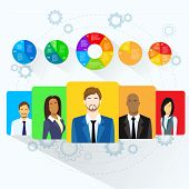 Circle Pie Diagram People Social Media Marketing Target Group Audience Demographic Statistic Information Vector Illustration poster