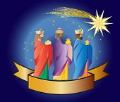 Three kings or three wise men with a star and a ribbon. Christmas nativity vector illustration. poster