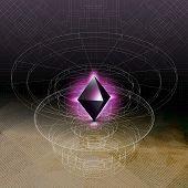 Abstract geometric shape, scientific graphic design. Futuristic vector illustration. poster