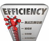 Efficiency word on thermometer measuring your level of effective or productive work poster
