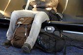 Man waiting airport terminal. Man sitting at chairs waiting lounge airport building poster