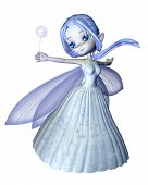 Cute toon frosty blue winter snowflake fairy, 3d digitally rendered illustration poster