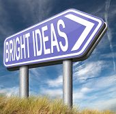 bright ideas road sign brilliant great idea new innovation or invention eureka creative solution or discovery  poster
