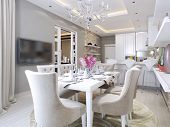 kitchen and dining room neoclassical style 3d images poster