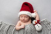 Sleeping two week old newborn baby boy wearing a crocheted Santa hat with snowman plush toy. poster