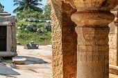 Detail of ruins of ancient city Vijayanagar at Hampi India a UNESCO World Heritage Site. poster
