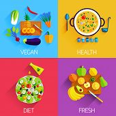 Vegetarian food, Diet, Fresh and Healthy food and Salads banners. Eating natural products, fruits and vegetables, carrot, cabbage, vitamins. Salad with pineapple and banana, eggplant and pepper, lettuce and olive oil. Flat style design vector illustration poster