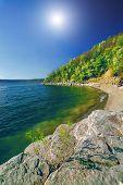 Beautiful river landscape and sunshine in Bakota, Ukraine poster