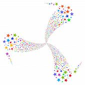 Star Salute Swirl Rotation glyph illustration. Style is bright multicolored flat stars, white background. poster