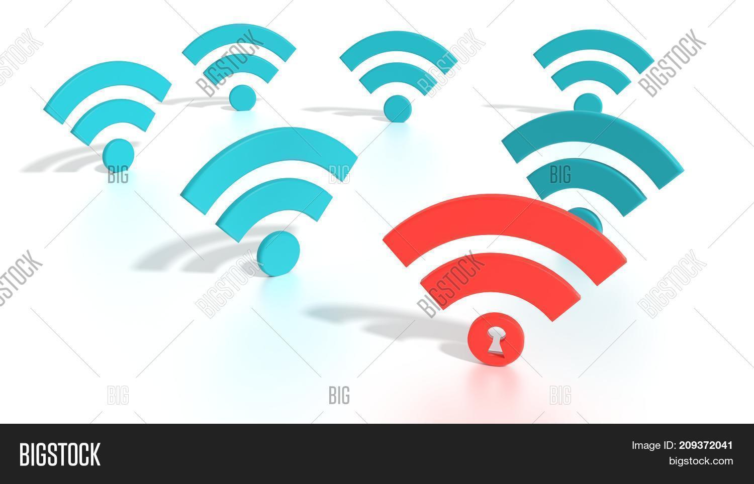 Red Wifi Symbol Among Image & Photo (Free Trial) | Bigstock