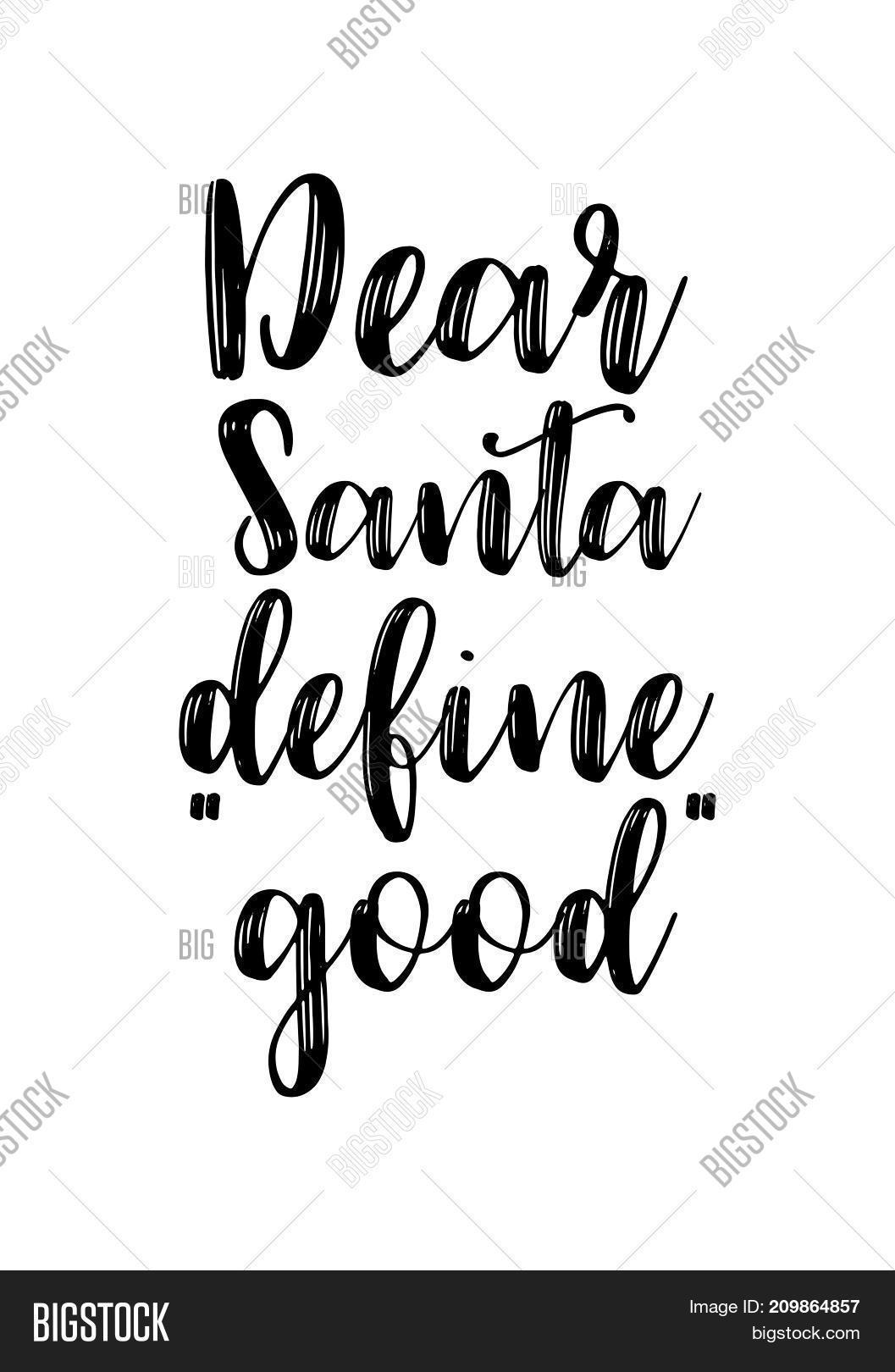 christmas greeting card with brush calligraphy vector black with white background dear santa define - Define Christmas